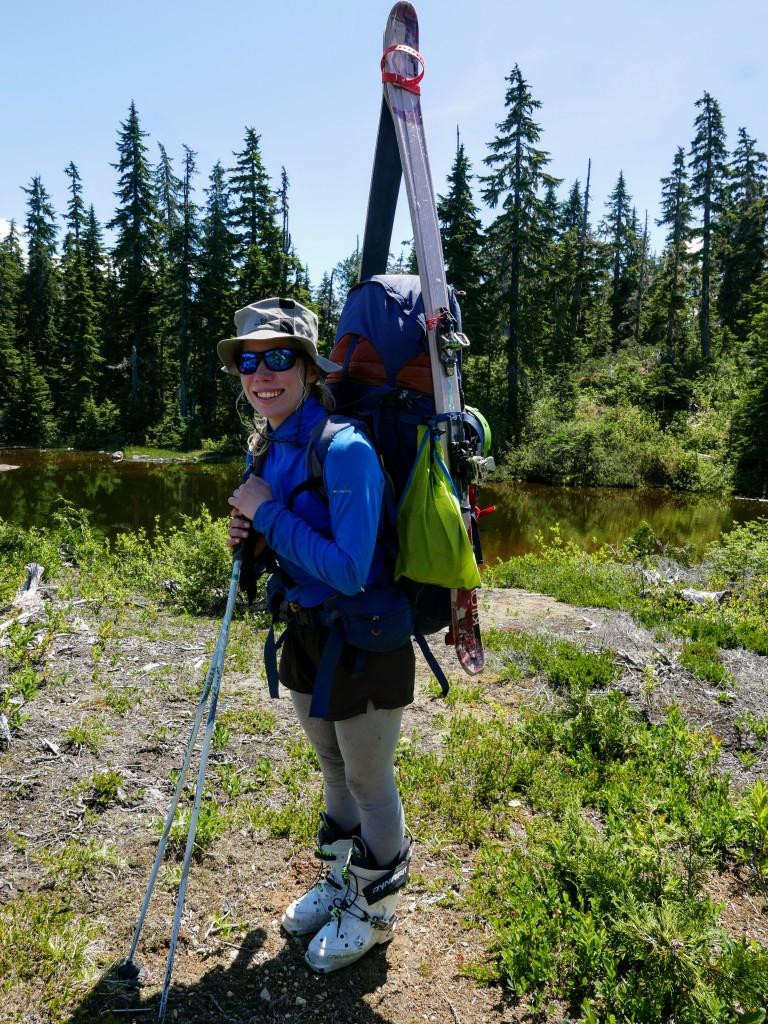 Is Birgit bigger than her backpack?