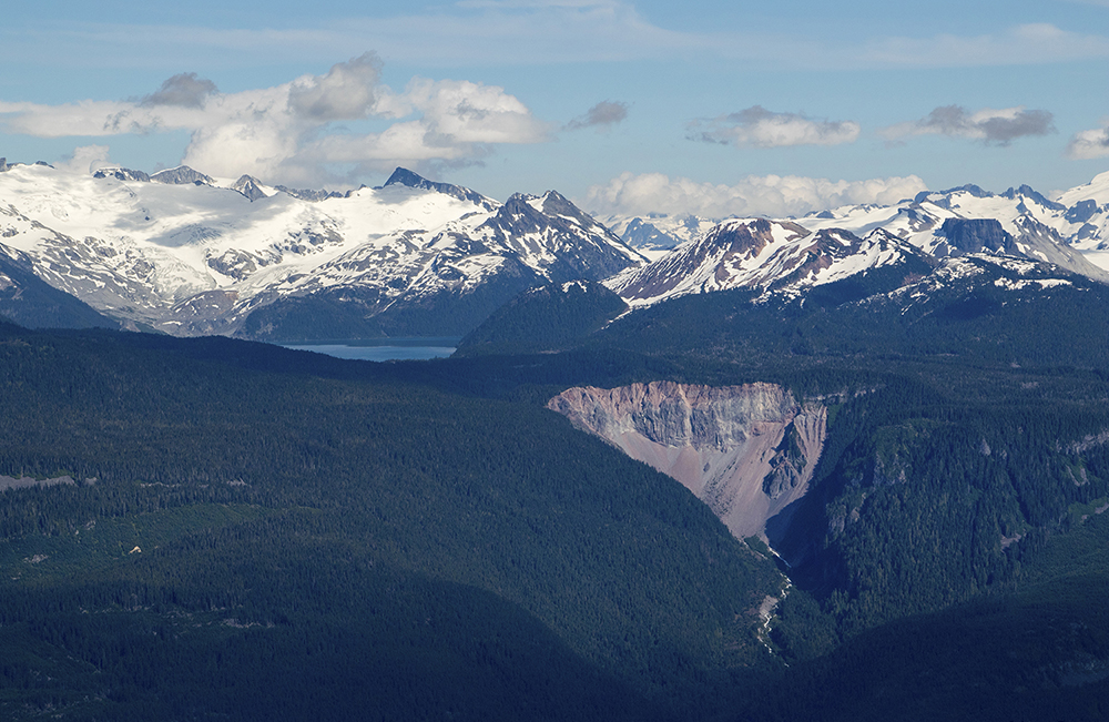 A rare (at the time) view of the closed Garibaldi Lake and The Barrier.