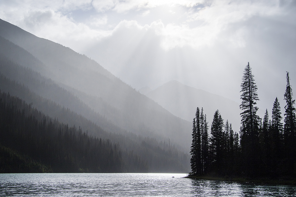 A beautiful scene as the rain and sun mixed above Hummingbird Lake.