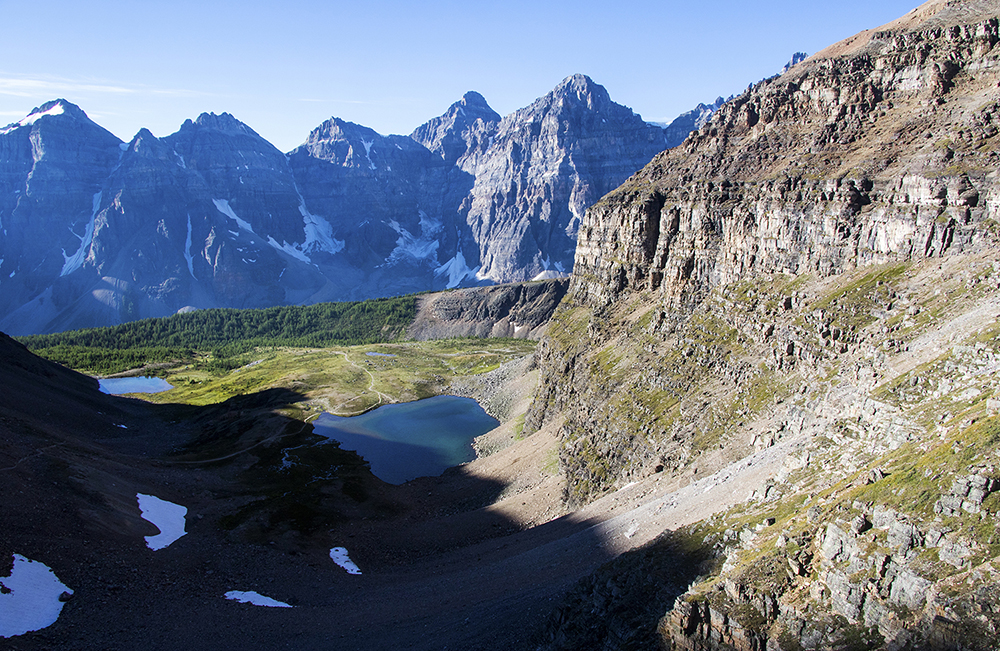 A tarn and the Valley of Ten Peaks from Sentinel Pass.
