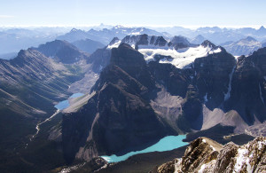 An unusual view of Moraine Lake.