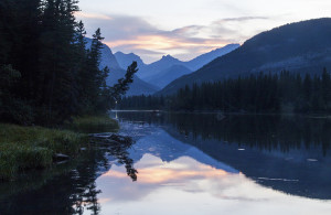Sunset near camp at Bow Valley Provincial Park.