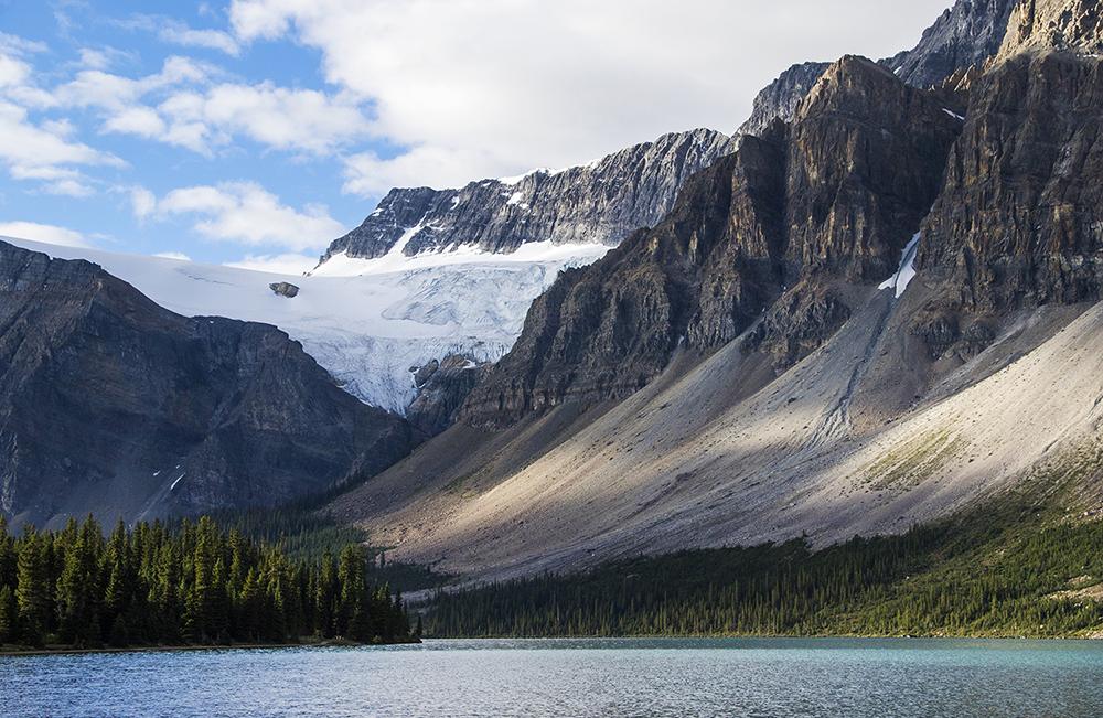 The trailhead is near beautiful Bow Lake.
