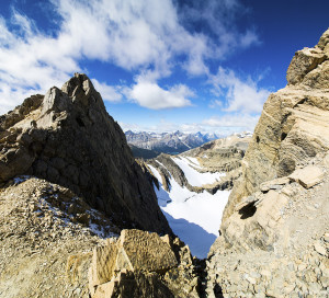 A notch between the twin summits.