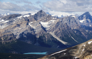 A rare view of Peyto Lake, closed for most of the summer.