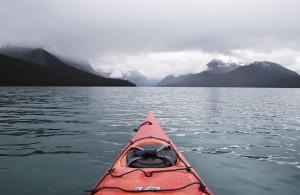 Kayaking through some light rain.