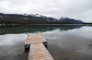 The dock on Maligne Lake.