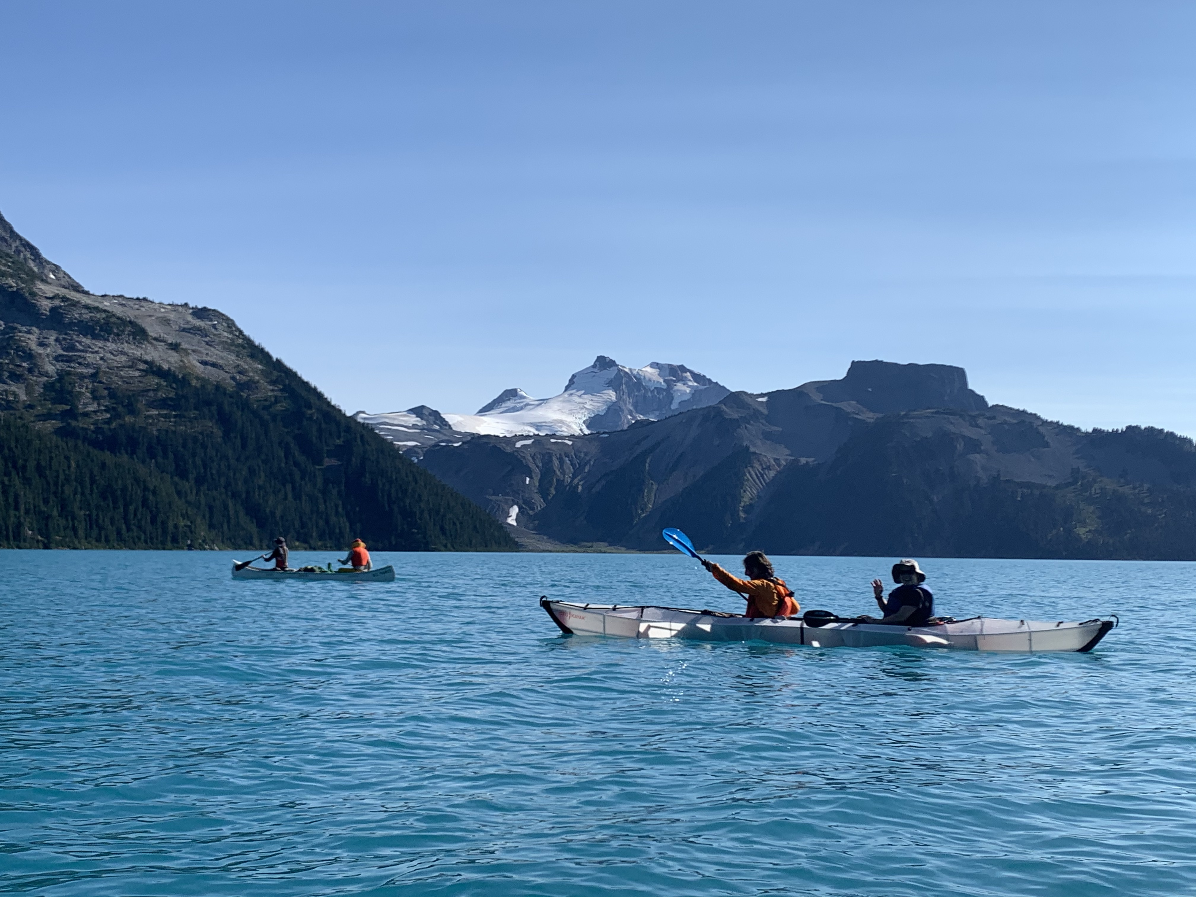 Paddling in front of Mount Garibaldi and Table Mountain. Photo by Haley Foladare