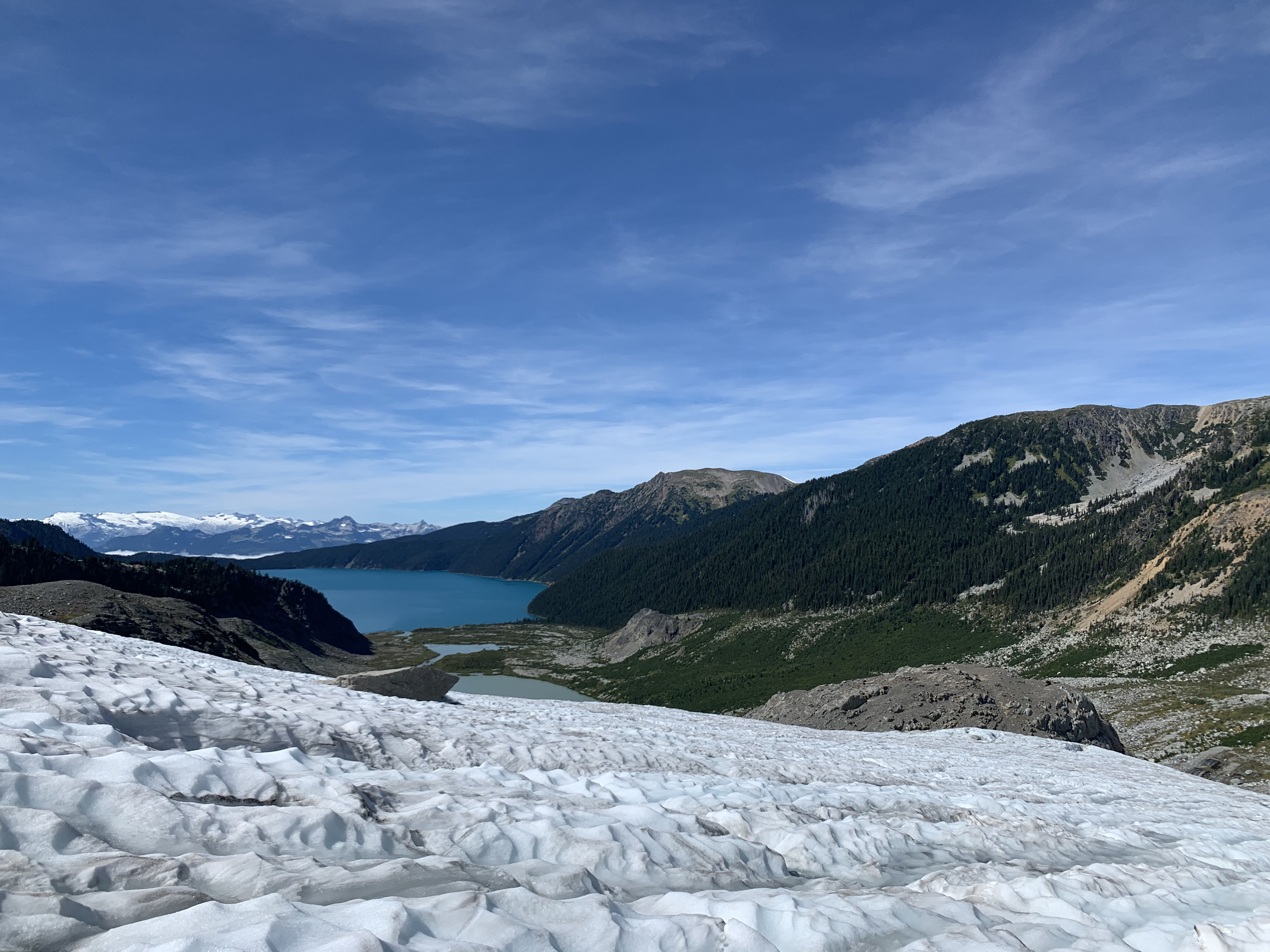 The view of the lake from the glacier. Photo by Haley