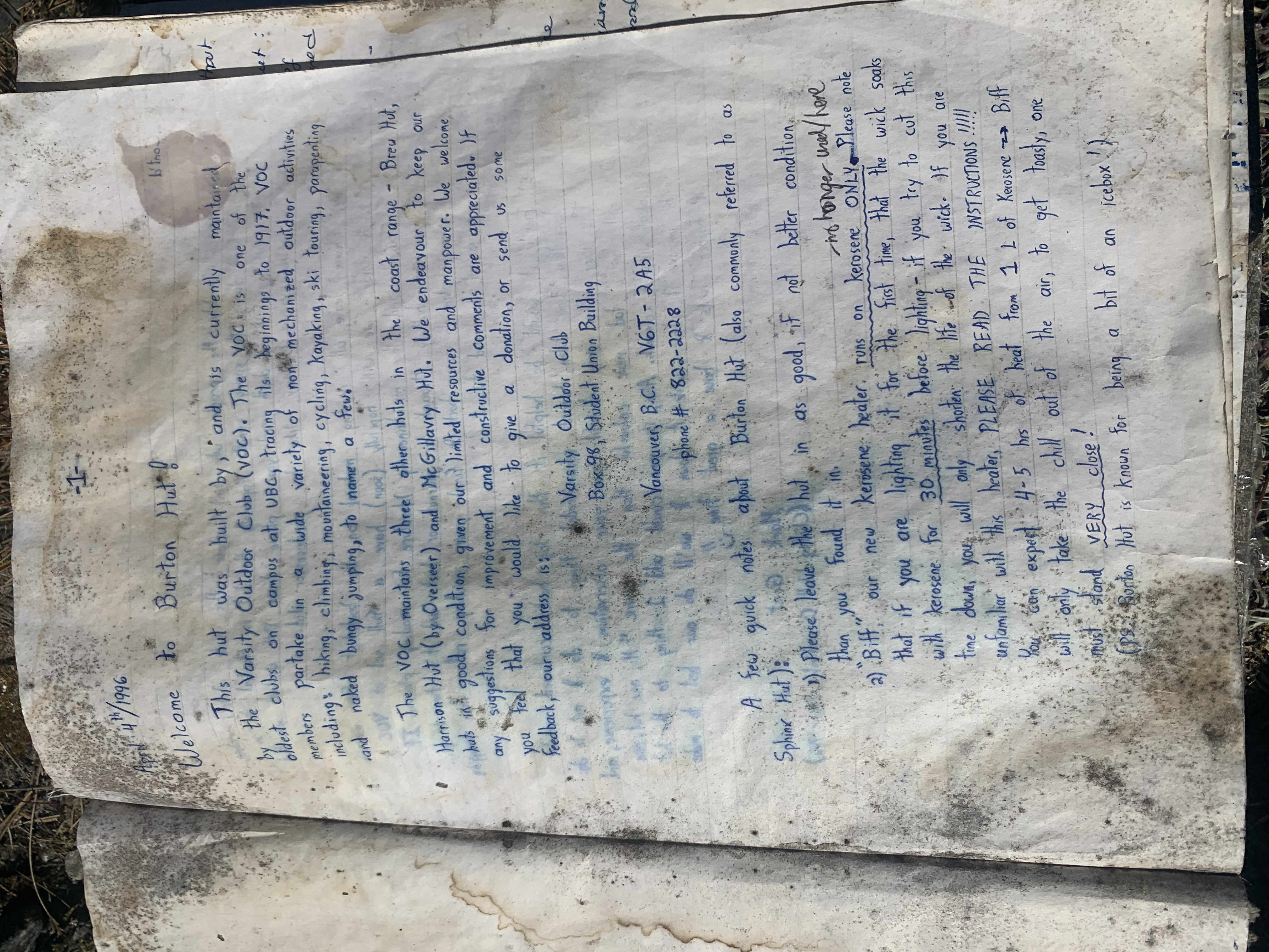 The water damaged 1996 hut journal. Photo by Haley