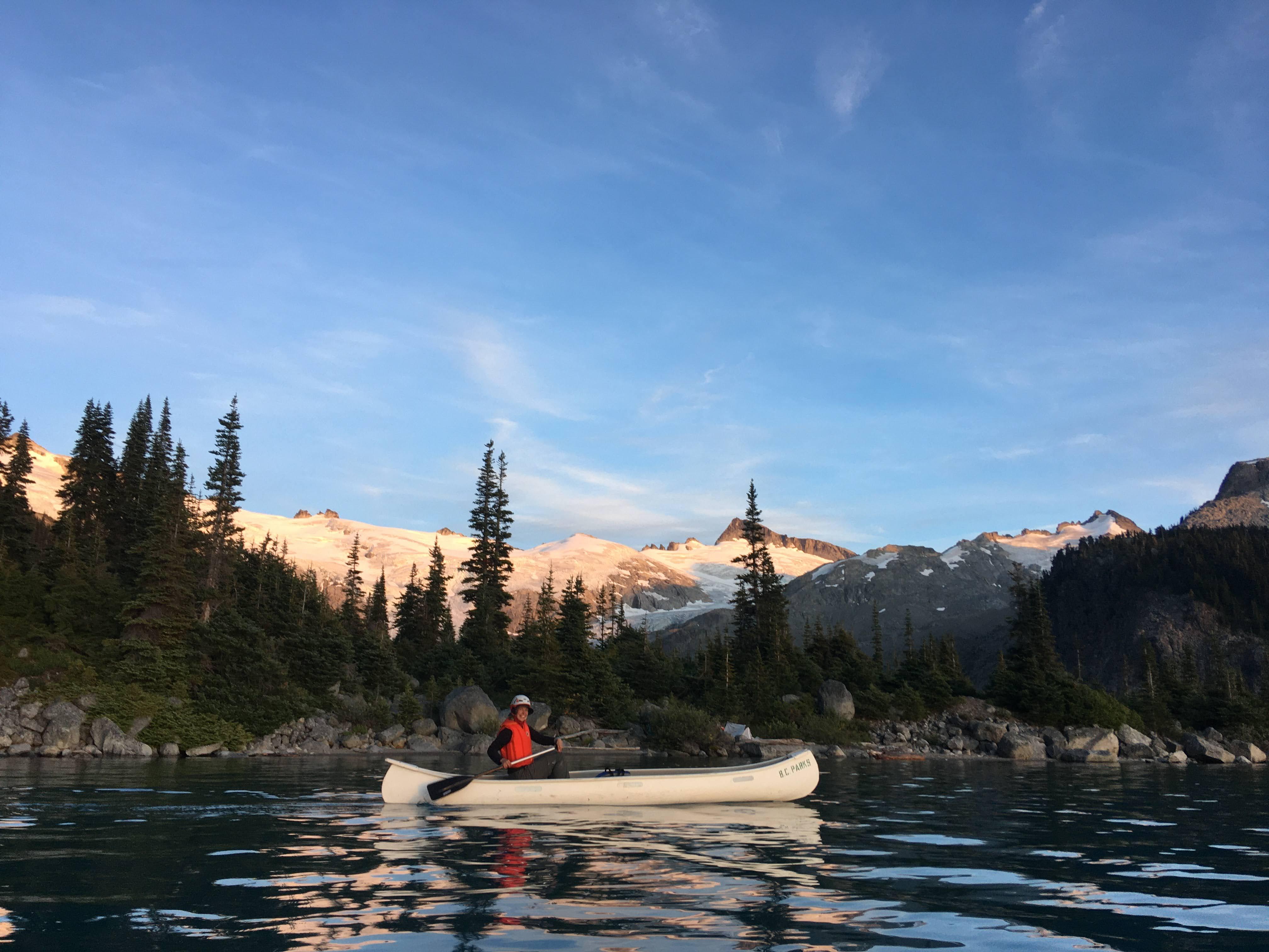Cassandra modeling for BC Parks canoe team. Photo by Melissa