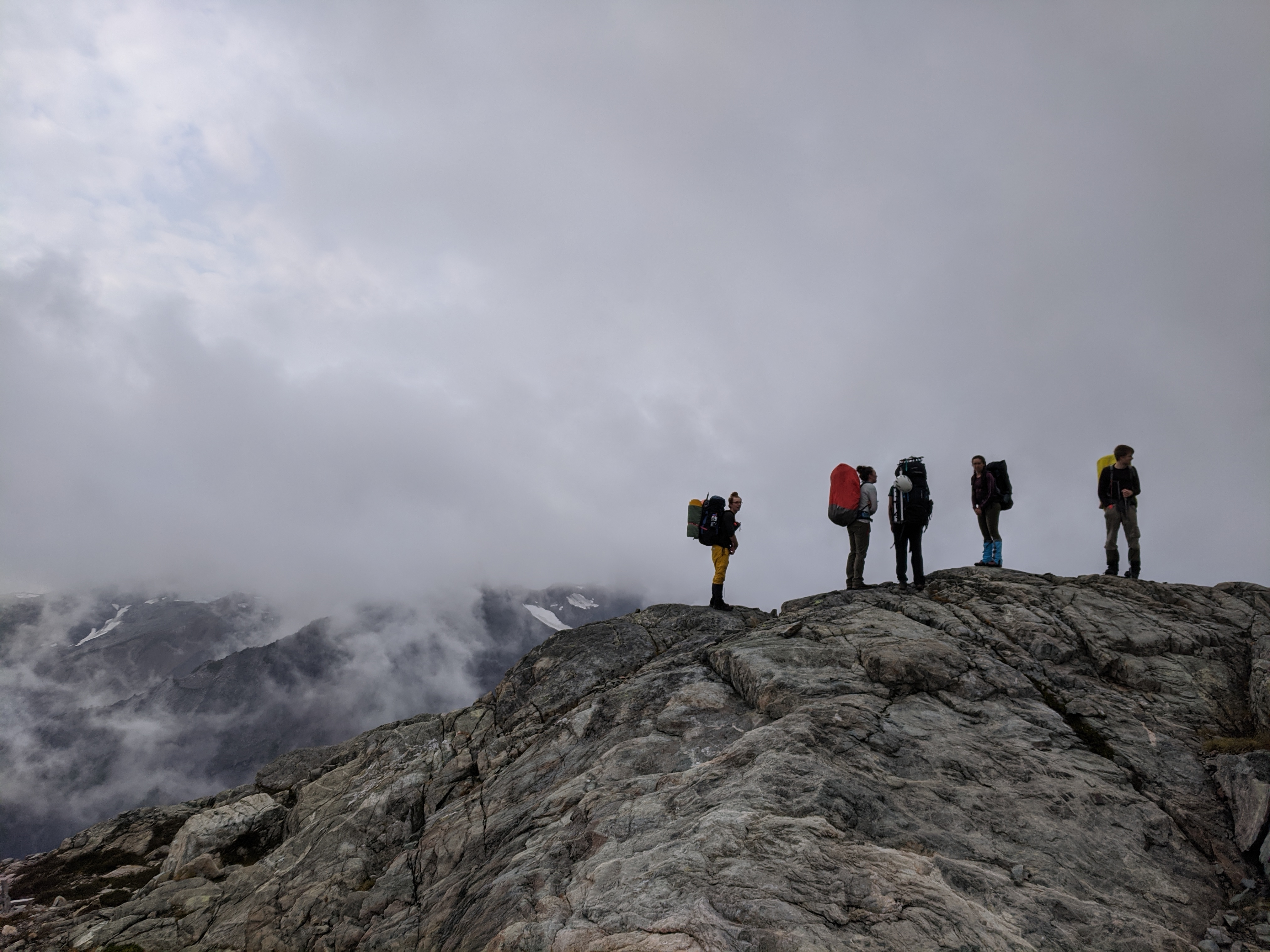 Members of Kai's group in the fog. Photo by Jacob Grossbard