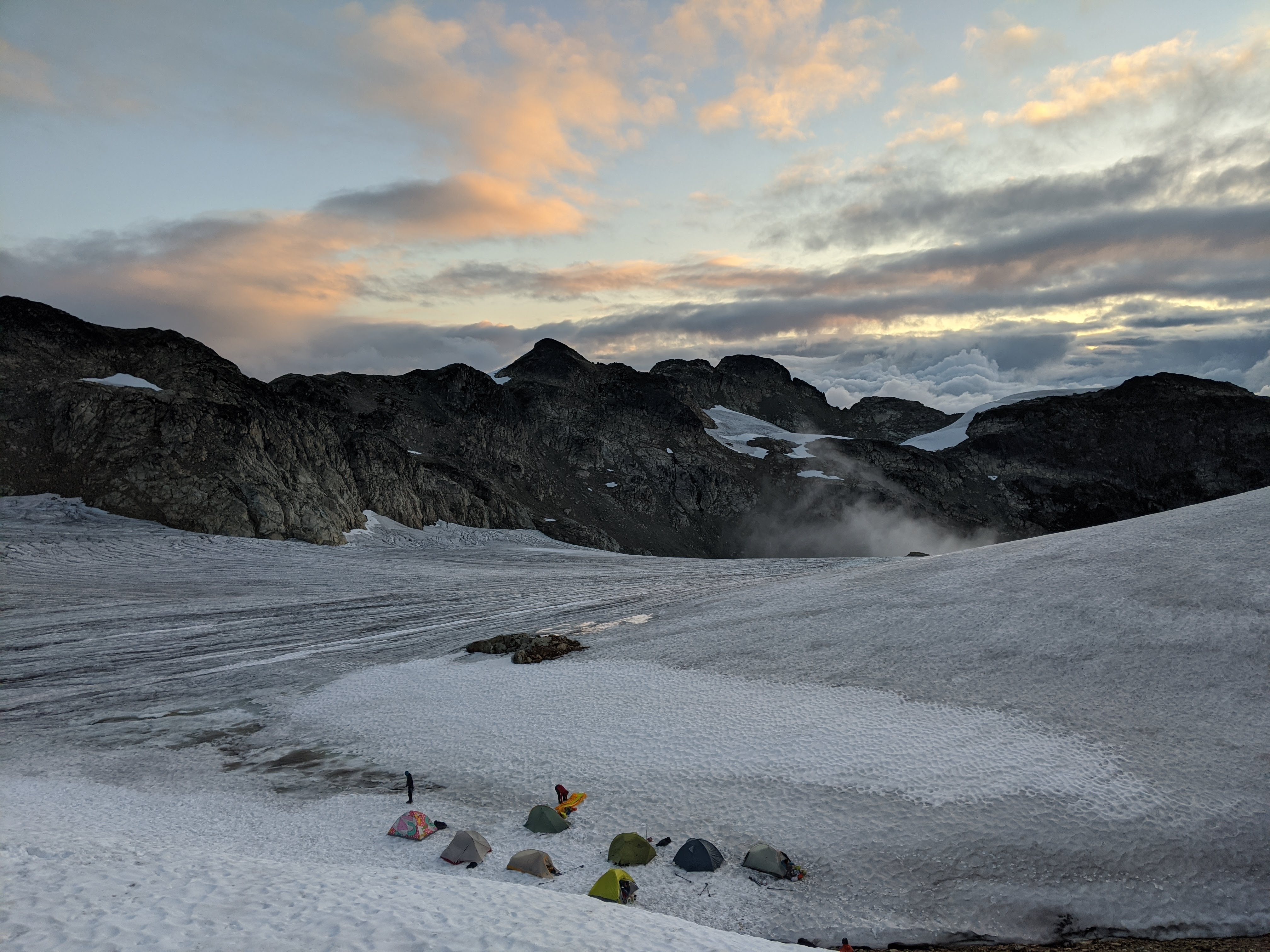 Morning light over the lower campsite. Photo by Kai Schwarz