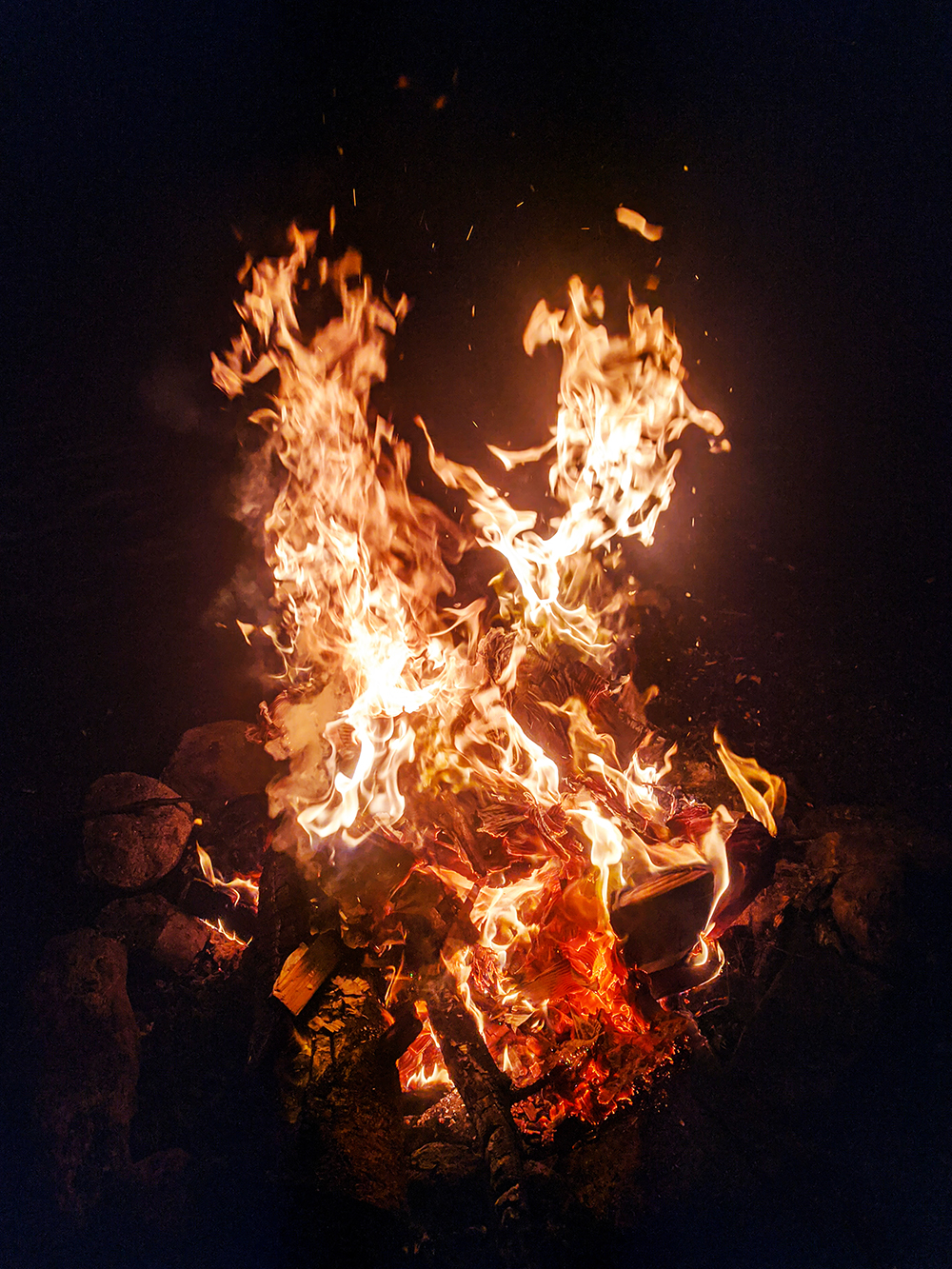 A winter fire is great because the warmth is so nice and you don't really need to worry about how large it gets.