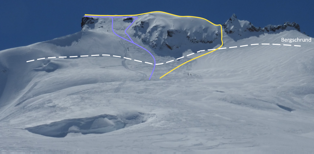 Two variations on the Garibaldi NE face route. Photo by Alberto.