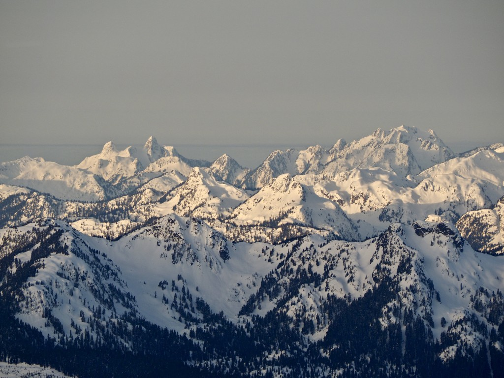 The Lions, Brunswick, and other North Shore Mountains in the morning sunrise.