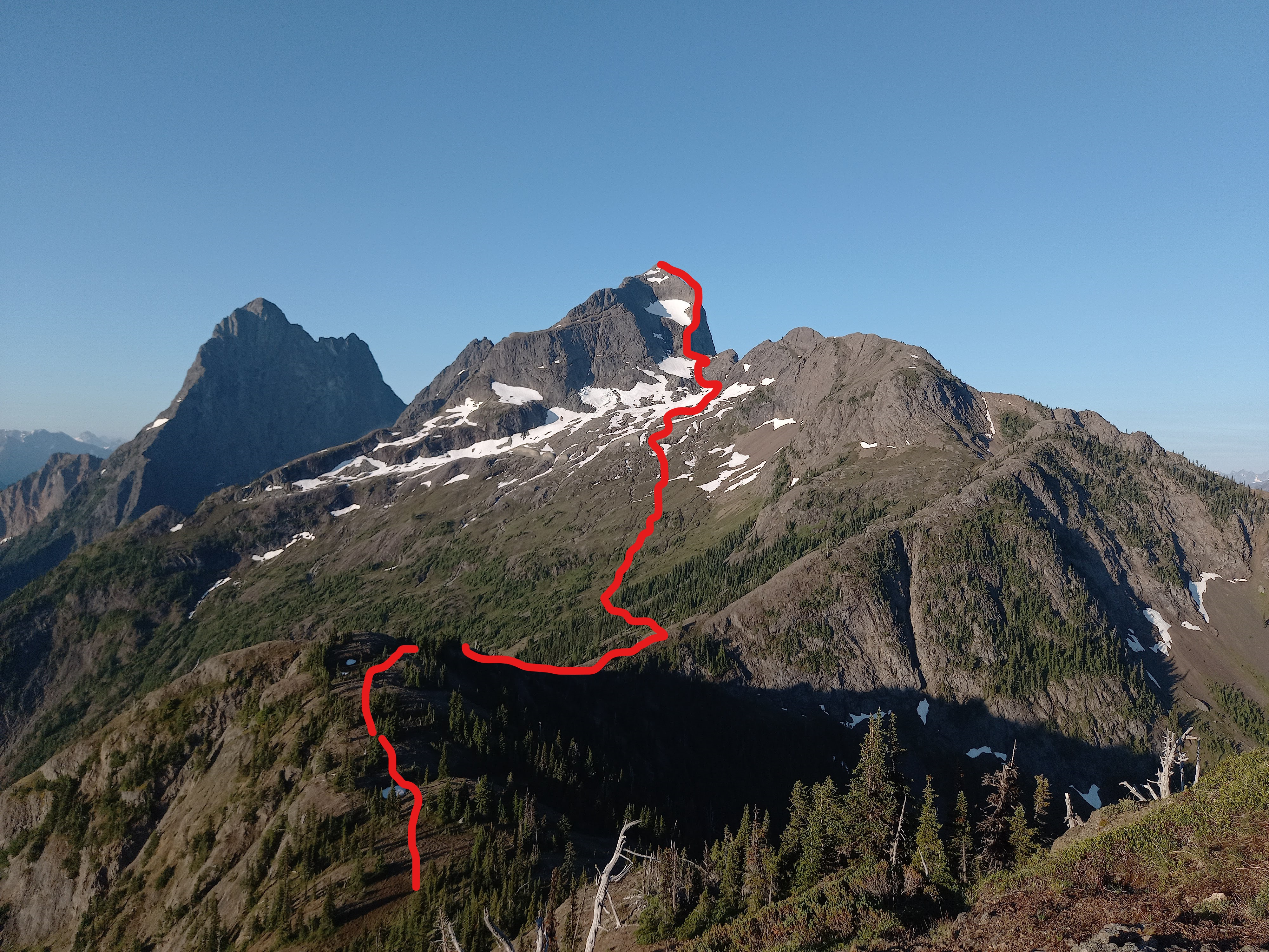 Approximate route from the US border to the summit of Hozomeen Mtn.