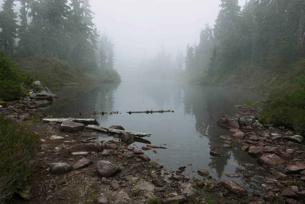 A misty lake on the ridgetop, a couple hours from the car.