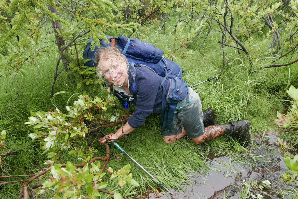 Birgit in the swamp.