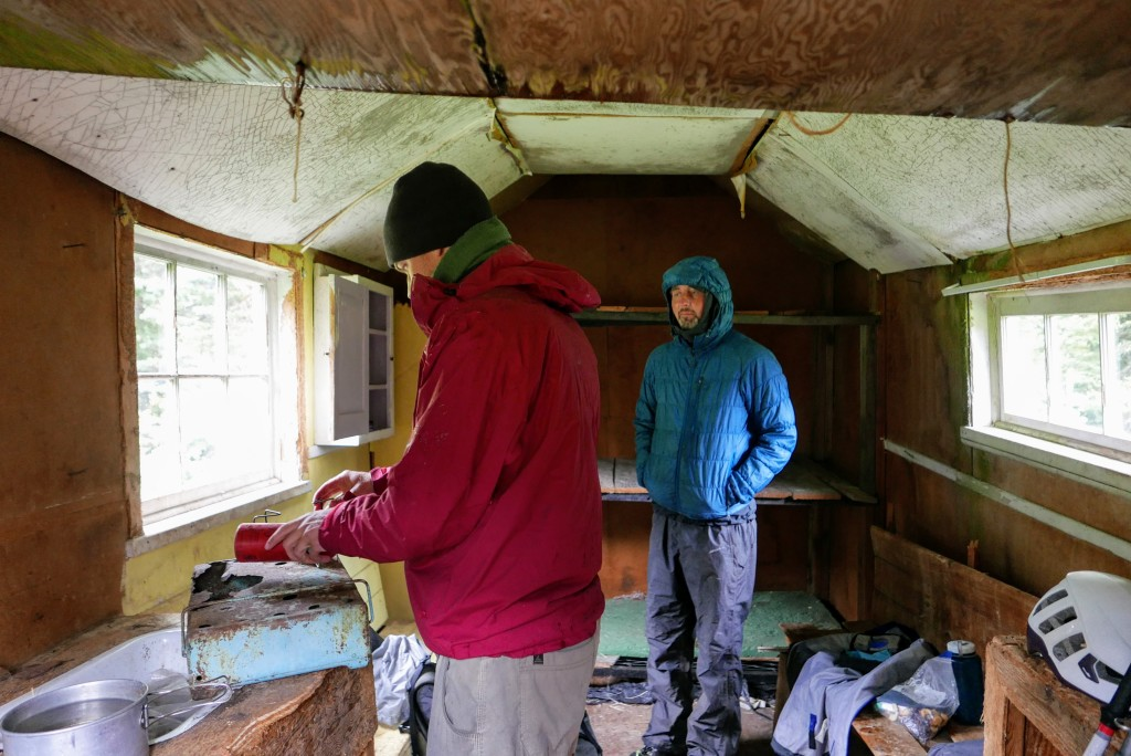 Making tea in the collapsing cabin.
