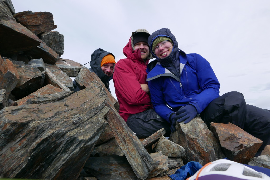 You can't see how absolutely freezing it was at the summit... we were hiding behind the summit cairn to stay out of the wind.